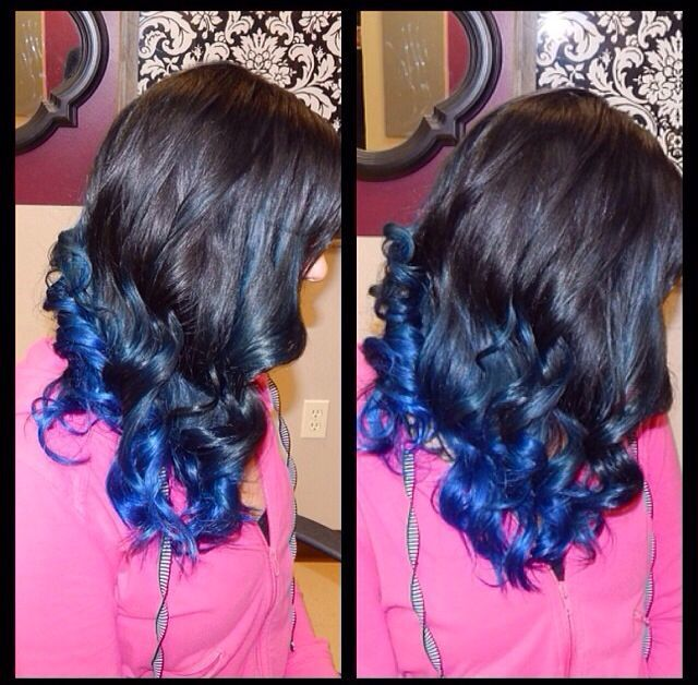 black hair with blue tip example 2
