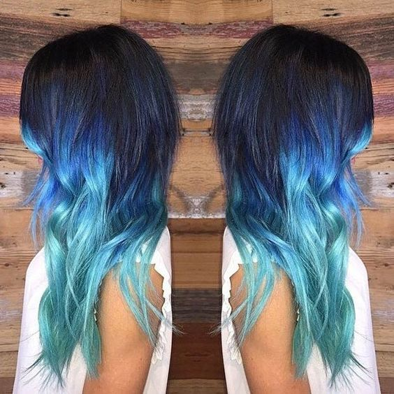 black hair with blue tip photo