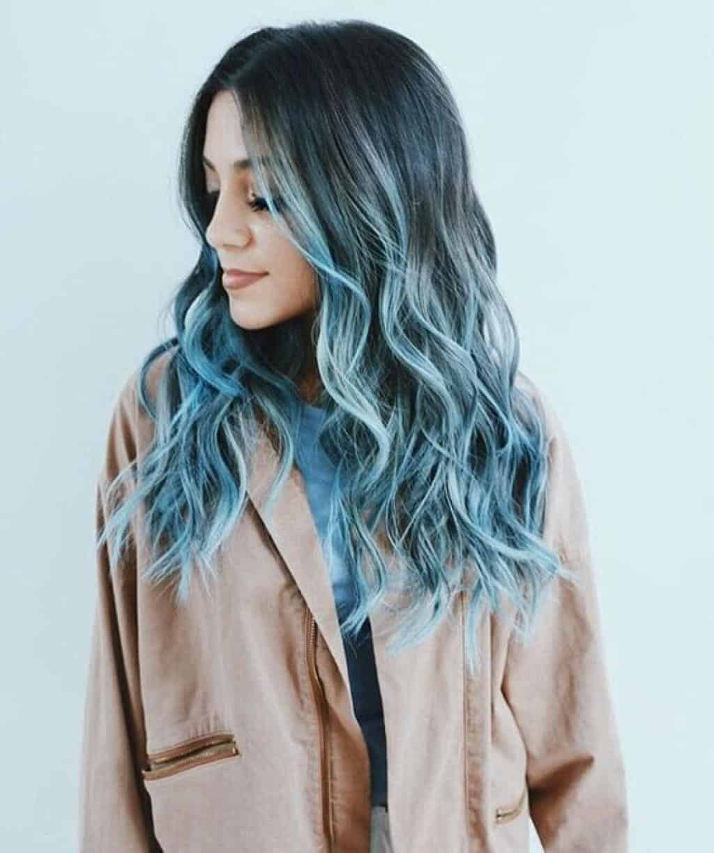 Brown dark blue ombre hair forecasting to wear for autumn in 2019