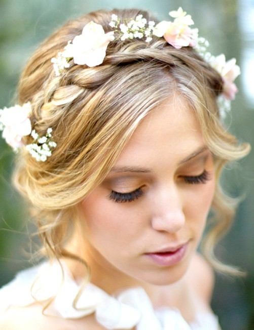 nice flower with braided updos hairstyle