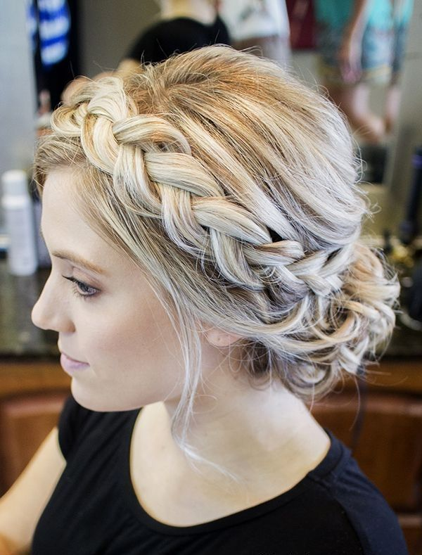 Blonde Highlights braided updos haircut