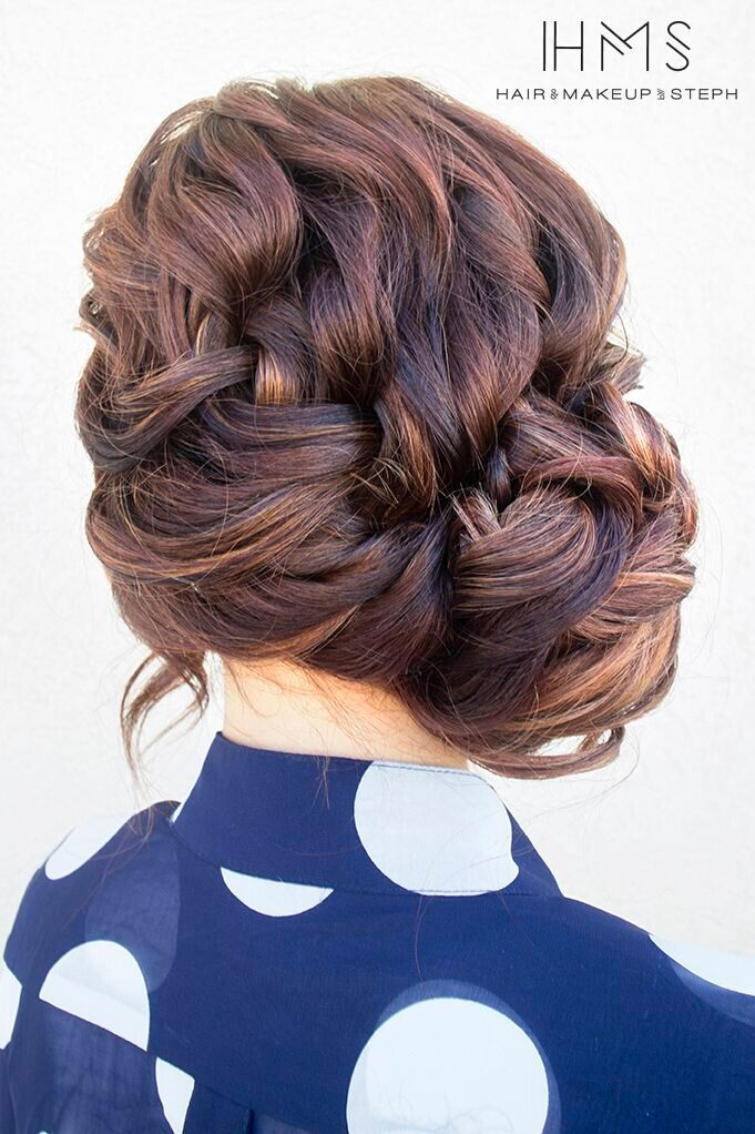 Voluminous braided updos hairstyle for cute girl