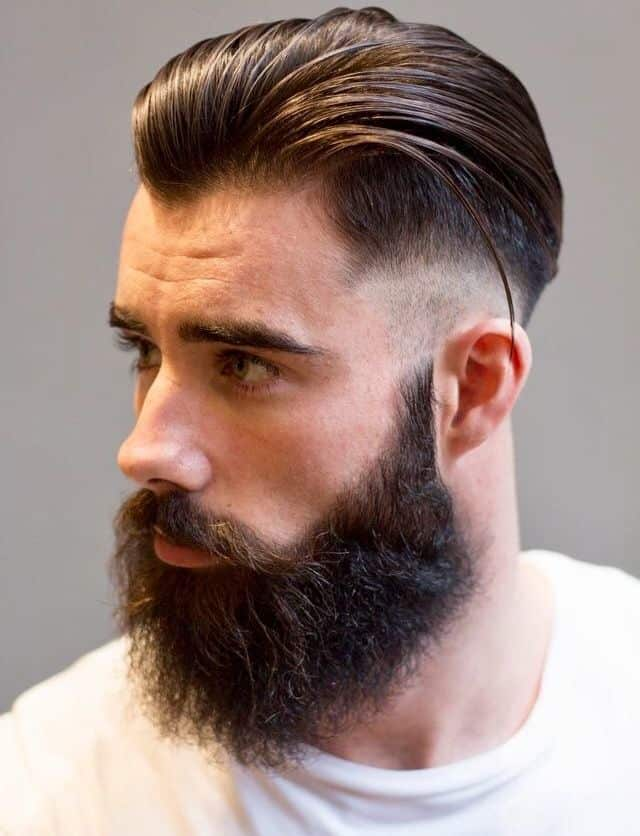 Slicked Back Comb Over Taper Hairstyle