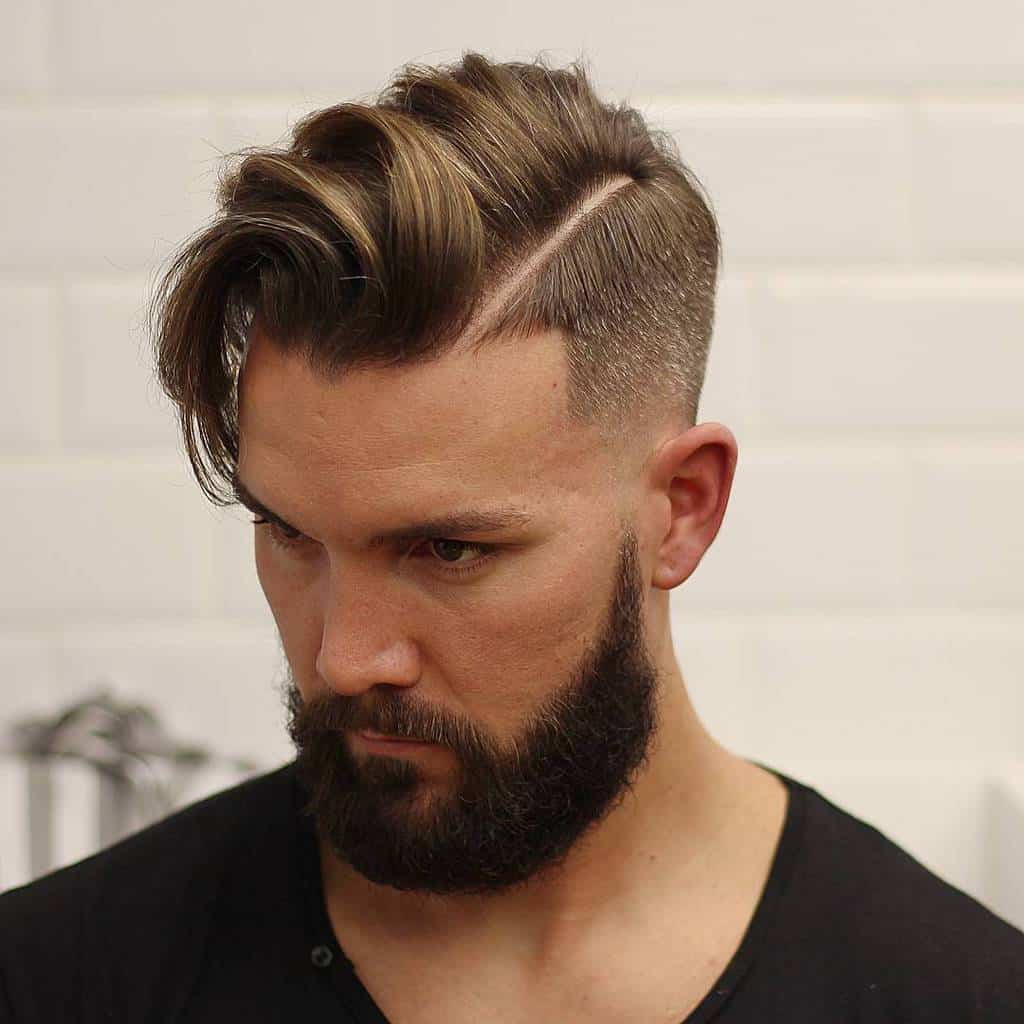 Lovely Floppy FauxHawk And Angular Taper Fade