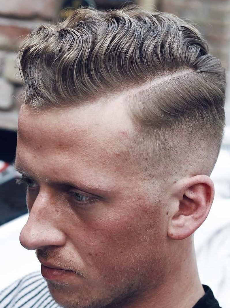Nice Short Comb Over Fade For Wavy Hair