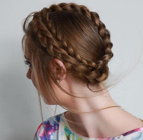 If Your Hair Is Thick Enough You Can Go For Two Crown Braids Make Regular And Wrap Them Around Head In Different Directions