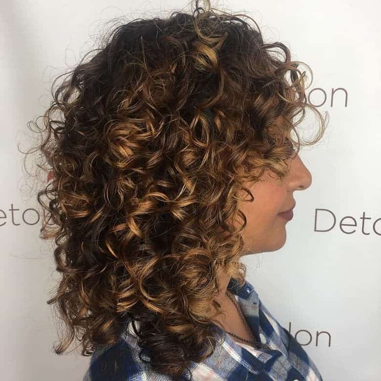 Curly Hair Balayage Brown
