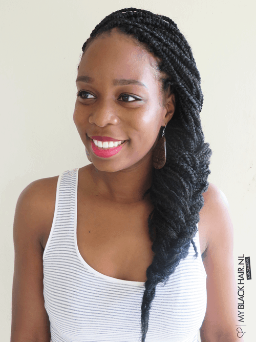 African Fishtail Low Braid hairstyle