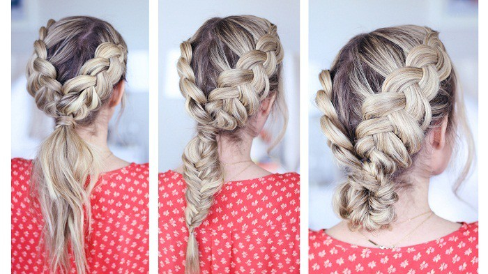 Dutch braids with a fishtail hairstyle for teen girl