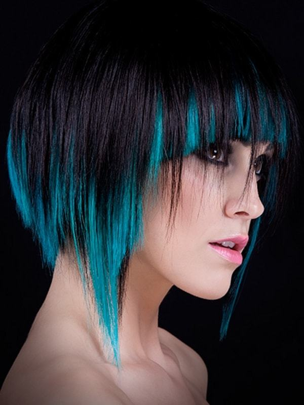 Emo Style Black Hair With Blue Tips Hairstylecamp