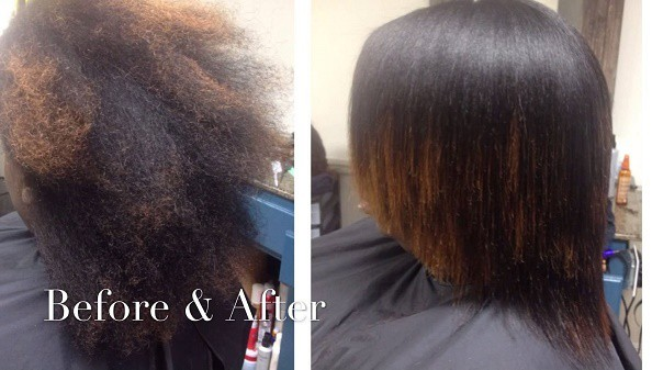 african american hair after flat iron use