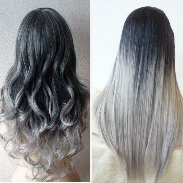 silver colored ombre hair for women
