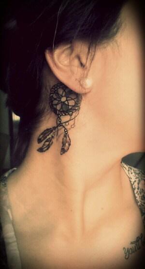 girl beautiful hair line tattoo idea