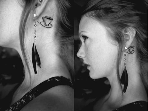 coffee design hair line tattoo