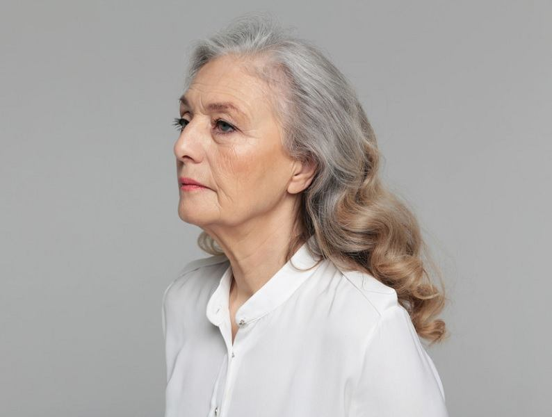 long hair for women over 60 with round face