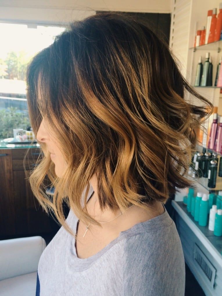 Balayage brown color for short hair