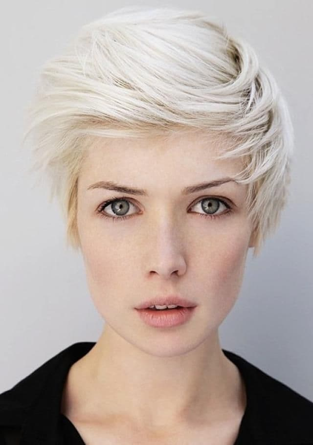 Platinum color blonde short hairstyle