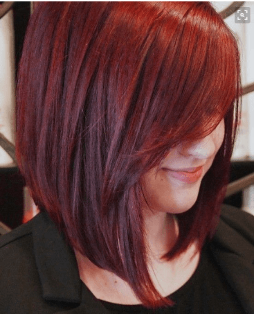 red side bangs with long bob