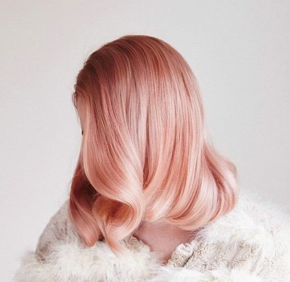 Pearlescent Rose hair color style