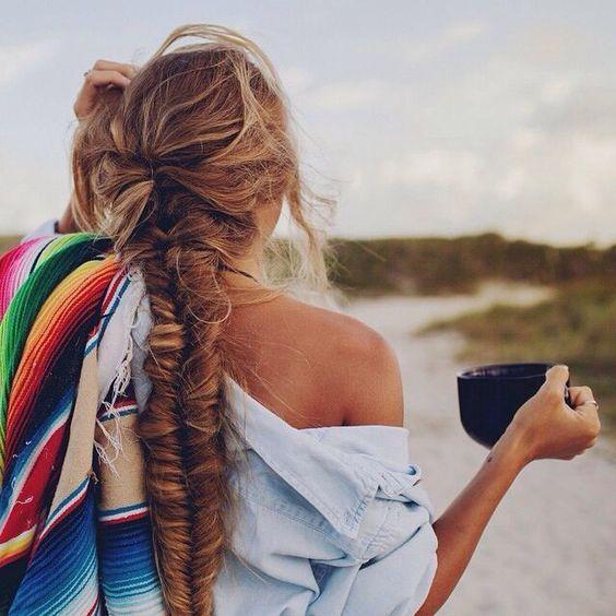 Fishtail Braid with Long Straight Hair