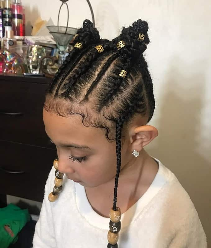 Admirable 21 Attractive Little Girl Hairstyles With Beads Hairstylecamp Natural Hairstyles Runnerswayorg