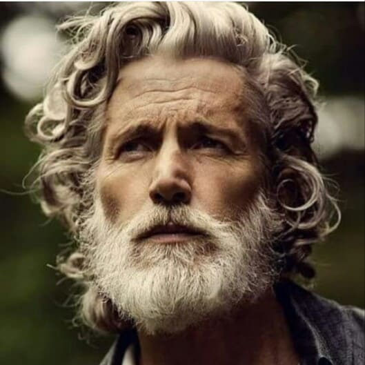 old men's long natural hairstyle