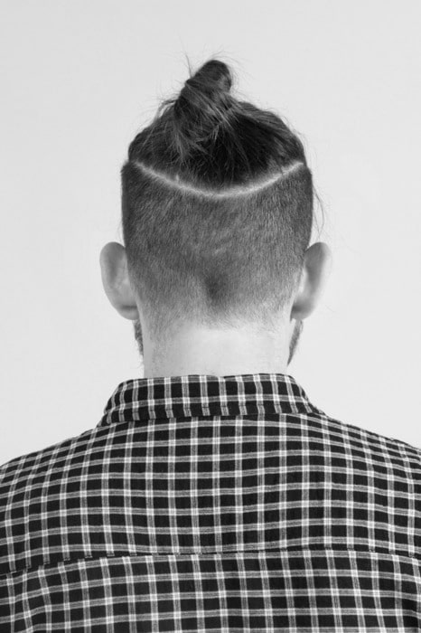 Undercut man bun hairstyle