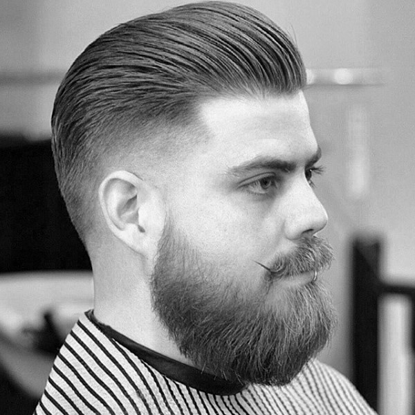 Medium length tapered crew cut for men