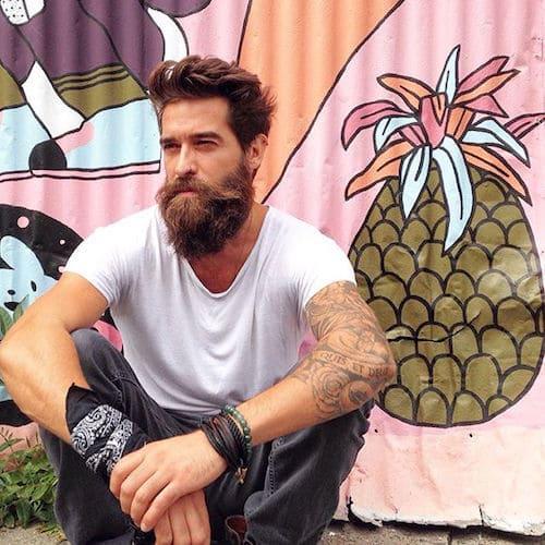 cool Voluminous Hair with lfull beard cut