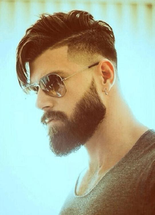 Side Mohawk hair with full beard for men