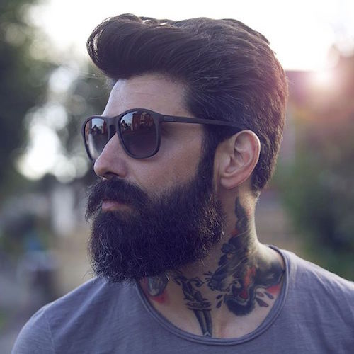 Man Buns hairstyle with full beard
