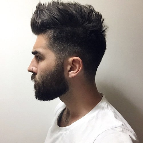 Spikehairstyle for men with long beard