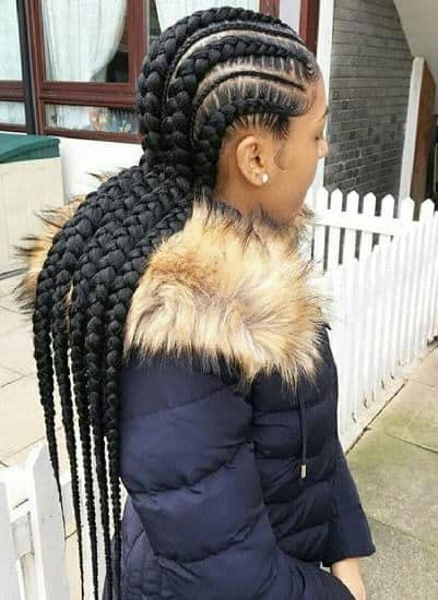 Differently Sized Cornrows for Nigerian Women