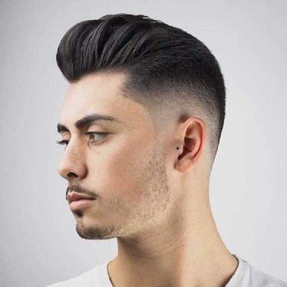 Pompadour Taper Slick Back Hairstyle