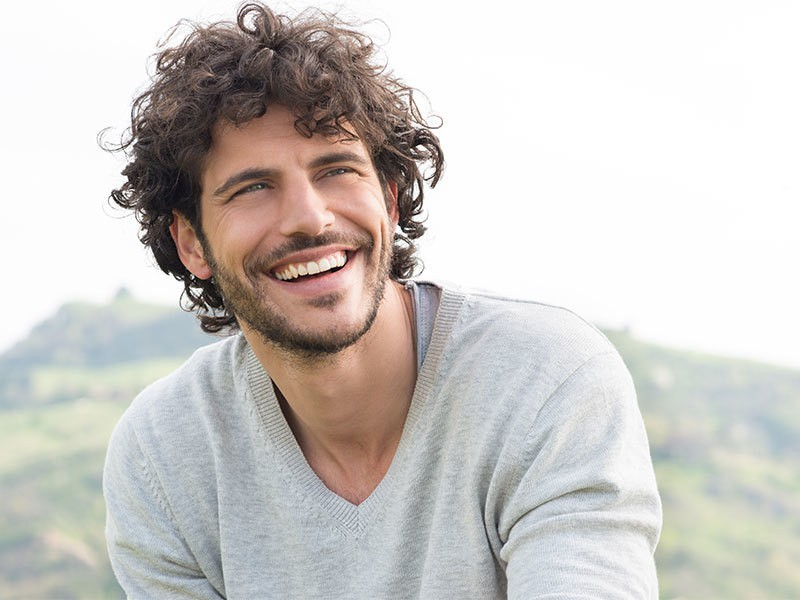 men curly long hairstyle