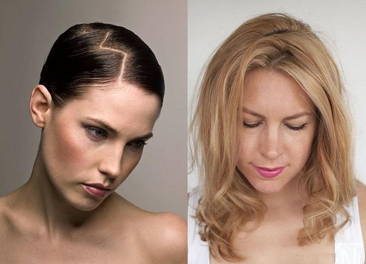 зигзагообразный пробор для тонких волос